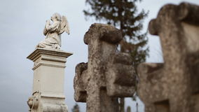 Two Ancient Crosses on Old Graveyard. Two Ancient Crosses on Old  Graveyard stock footage