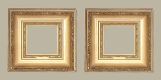 Two ancient gold frame Royalty Free Stock Photography