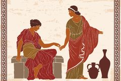 Ancient Greek woman. Two ancient Greek women hold each others hands. Vector illustration on a beige background with the aging effect stock illustration