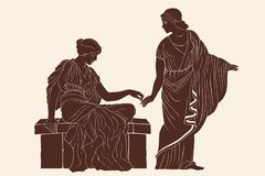 Two ancient Greek women. Two ancient Greek women hold each others hands. Vector illustration on a beige background stock illustration