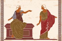 Ancient Greek woman. Two ancient Greek women in a tunics near a stone pedestal. Vector image on old beige background stock illustration