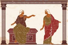 Ancient Greek woman. Two ancient Greek women in a tunics near a stone pedestal. Vector image on old beige background vector illustration