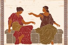 Two ancient Greek women. stock image