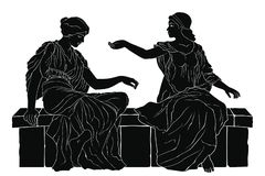Ancient Greek woman. Two ancient Greek women in tunics sitting on a stone and talking. Vector image isolated on white background royalty free illustration