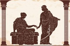 Two ancient Greek women. Two ancient Greek women hold each others hands in the temple between the columns. Vector illustration on a beige background vector illustration