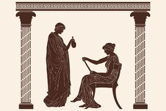 Two ancient Greek women. A woman in a tunic with a jug is standing in front of a sitting woman with papyrus. Vector image in ancient greek style royalty free illustration
