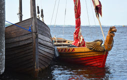 Two ancient Old Russian ships - boats. On the river ships this type rook - the Russian Cossacks conquered Siberia Royalty Free Stock Images
