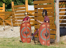 Two Ancient Roman Soldiers Guarding the Encampment Stock Images