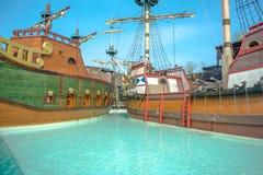 Two ancient sailing ships war. Galleons royalty free stock photos
