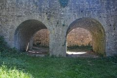 Two Ancient stone arch of a castle.  Stock Photos