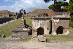 Two ancient tombs in Pompeii Royalty Free Stock Images