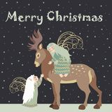 Two angel hug reindeer. Two little angels embrace reindeer.Vector Christmas greeting card Stock Illustration