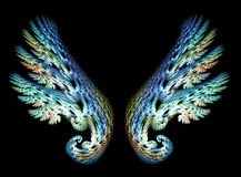 Two Angel Wings. In blue and green tones over black background Vector Illustration