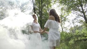 Two angelic girls dancing in the woods seen through the smoke -. Two angelic girls dancing in the woods seen through the smoke stock video