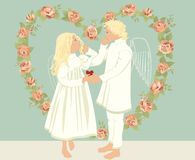 Two angels. Vector illustration two angels in a vintage style stock illustration