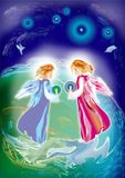 Two angels. On a blue background vector illustration