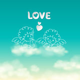 Two angels on a cloud love word and heart sunny sky background vector Royalty Free Stock Photos