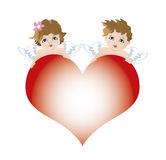 Two angels cupids for valentine celebration Stock Photos