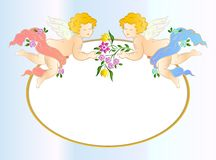Two angels with flower. Vector card Royalty Free Stock Image