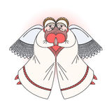 Two angels with heart. Stock  illustration on religious occasions. Royalty Free Stock Photos