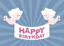 Two Angels hold Ribbon. happy birthday. Cute babes congratulate Stock Images