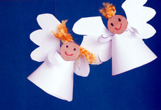 Two angels made from paper Royalty Free Stock Photo