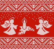 Two angels near the candle. Festive pattern. Two angels near the candle. Winter pattern in Scandinavian style Royalty Free Stock Image