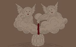 Angels with wine. Two angels sit on the cloud and pour red wine into the barrel from the bottle Royalty Free Stock Photo