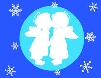 Two angels and snowflakes Royalty Free Stock Image