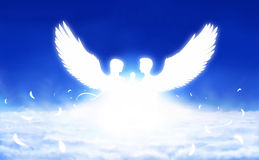 Two angels in sunlight. Digital painting - angels in love above clouds Royalty Free Stock Images