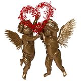Two Angels With A Wreath In The Shape Of A Heart Royalty Free Stock Photo