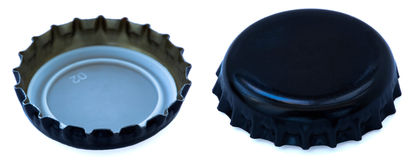 Isolated Black Metal Bottle Cap Both Sides Stock Images