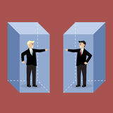 Two angry businessman in the box are shouting on each other. Concept of quarrel Royalty Free Stock Photos