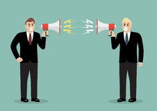 Two angry businessman are shouting on each other with megaphones Royalty Free Stock Photo