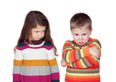 Two angry children Royalty Free Stock Image