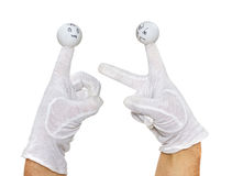 Two angry finger puppets disputing Stock Photo