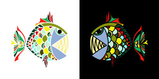 Two angry fish looking at each other on black white background for T-shirts design, tablewares , mugs and textiles Stock Photos