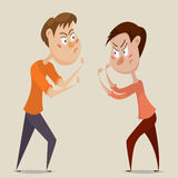 Two angry men quarrel and fight. Emotional concept of aggression and conflict. Cartoon characters. Vector illustration Royalty Free Stock Image