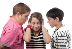 Two angry teenage boys and the girl royalty free stock photos