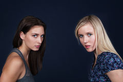 Two angry young women Royalty Free Stock Photography
