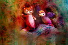 Two animal puppets, fox and violet bird, on abstract background with text space Royalty Free Stock Photography