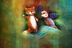 Two animal puppets, fox and violet bird, on abstract background with text space.  stock illustration