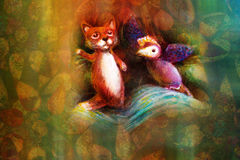 Two animal puppets, fox and violet bird, on abstract background with text space Royalty Free Stock Photos