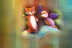 Two animal puppets, fox and violet bird, on abstract background with text space.  vector illustration
