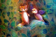 Two animal puppets, fox and violet bird, on abstract background with text space Stock Images