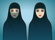 Two animation Arab girls in traditional clothes. Stock Photography