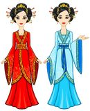 Two animation Asian girls in different poses in traditional clothes. Full growth. Royalty Free Stock Images