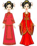 Two animation Asian girls in different poses in traditional clothes. Full growth. Royalty Free Stock Photos