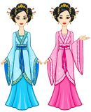 Two animation Asian girls in different poses in traditional clothes. Full growth. Stock Photos