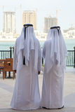 Two Anonymous Arab Men & Construction Buidings Royalty Free Stock Photos